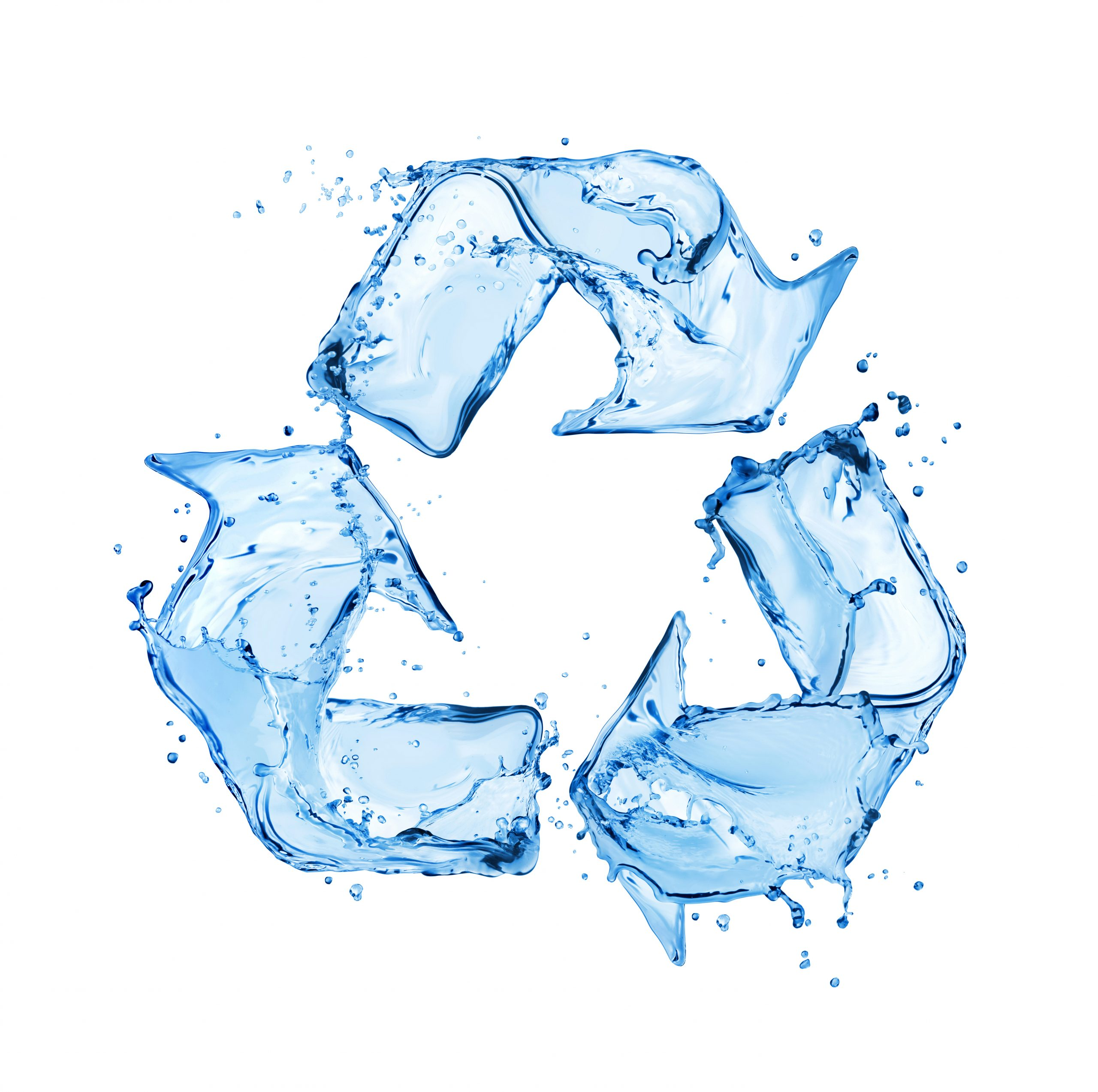 Recycling sign made of water splashes on white background